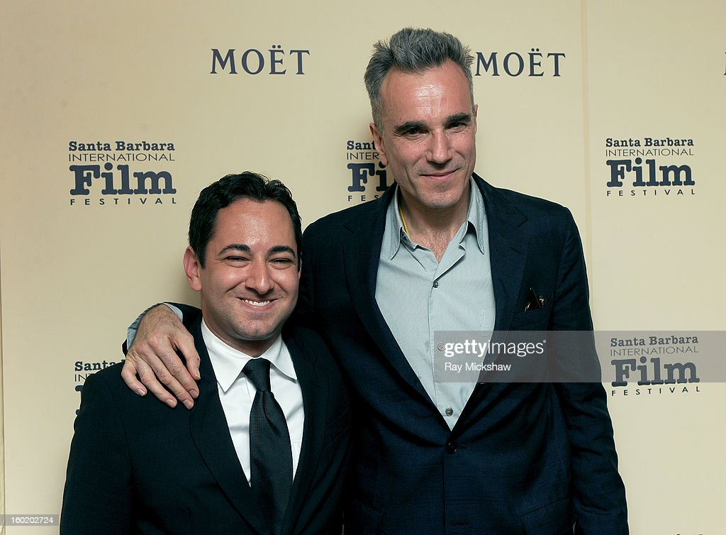 Scott Feinberg and Actor <a gi-track='captionPersonalityLinkClicked' href=/galleries/search?phrase=Daniel+Day-Lewis&family=editorial&specificpeople=211475 ng-click='$event.stopPropagation()'>Daniel Day-Lewis</a> attend the 28th Santa Barbara International Film Festival Montecito Award on January 26, 2013 in Santa Barbara, California.