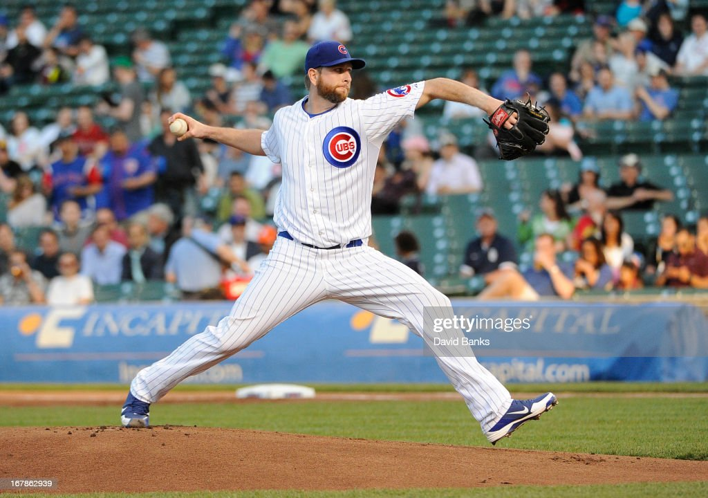 <a gi-track='captionPersonalityLinkClicked' href=/galleries/search?phrase=Scott+Feldman&family=editorial&specificpeople=540379 ng-click='$event.stopPropagation()'>Scott Feldman</a> #46 of the Chicago Cubs pitches against the San Diego Padres during the first inning on May 1, 2013 at Wrigley Field in Chicago, Illinois.