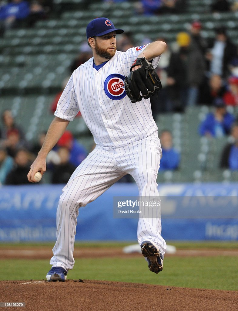 <a gi-track='captionPersonalityLinkClicked' href=/galleries/search?phrase=Scott+Feldman&family=editorial&specificpeople=540379 ng-click='$event.stopPropagation()'>Scott Feldman</a> #46 of the Chicago Cubs pitches against the Texas Rangers during the first inning on May 6, 2013 at Wrigley Field in Chicago, Illinois.