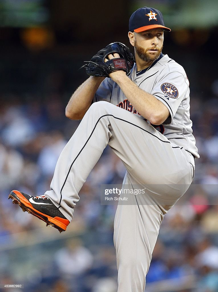 <a gi-track='captionPersonalityLinkClicked' href=/galleries/search?phrase=Scott+Feldman&family=editorial&specificpeople=540379 ng-click='$event.stopPropagation()'>Scott Feldman</a> #46 of the Houston Astros delivers a pitch against the New York Yankees during the first inning of a MLB baseball game at Yankee Stadium on August 20, 2014 in the Bronx borough of New York City.
