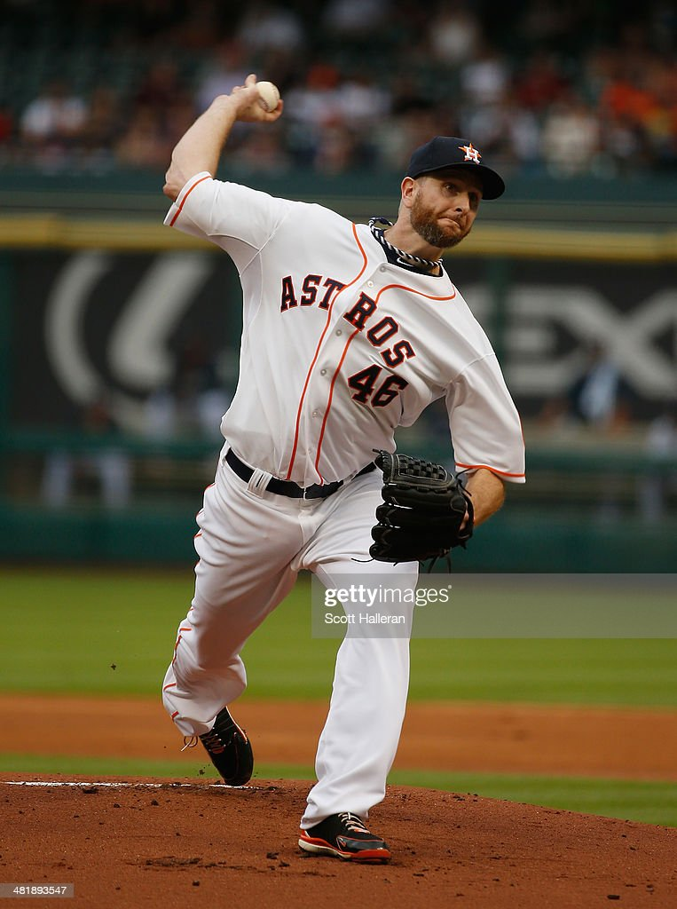 Scott Feldman #46 of the Houston Astros throws a pitch in the first inning duiring the game against the New York Yankees at Minute Maid Park on April 1, 2014 in Houston, Texas.