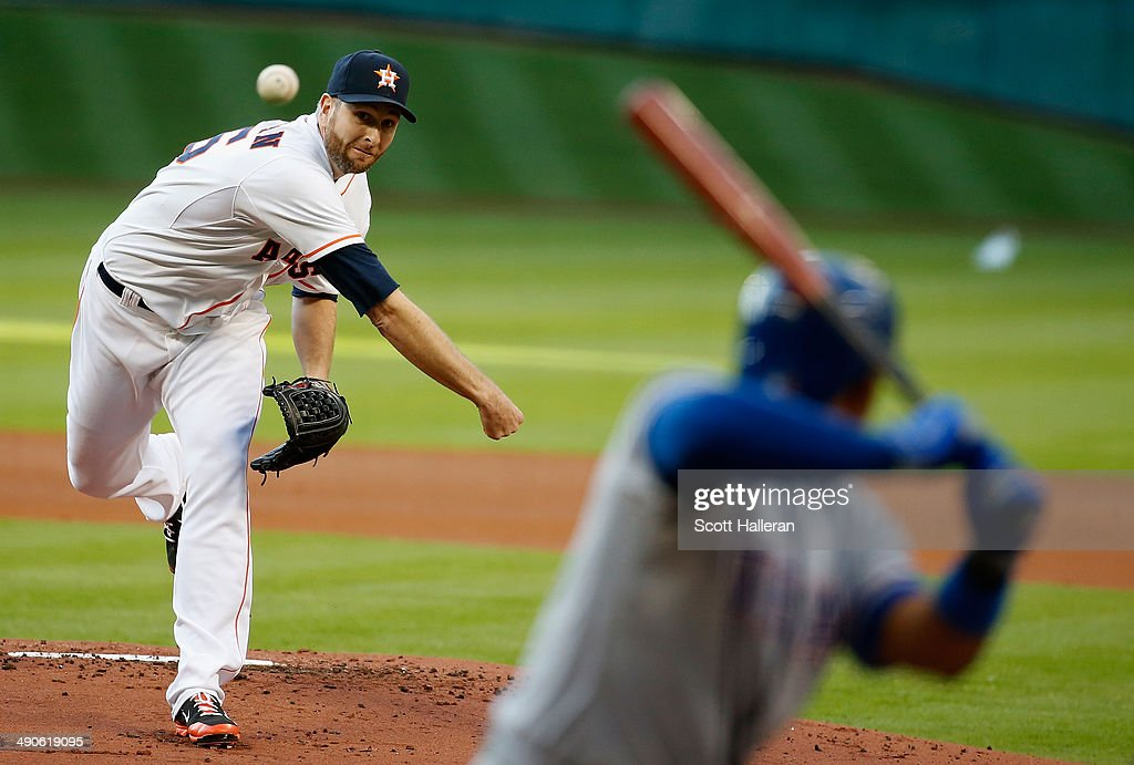 Scott Feldman #46 of the Houston Astros throws a pitch in the first inning to Elvis Andrus #1 of the Texas Rangers during their game at Minute Maid Park on May 14, 2014 in Houston, Texas.