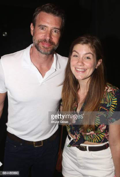 Scott Foley and Laura Dreyfuss pose backstage at the hit musical 'Dear Evan Hansen' on Broadway at The Music Box Theater on May 17 2017 in New York...