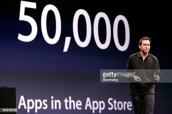 Scott Forstall senior vice president in charge of iPhone software talks about the number of applications available in the App Store for the Apple...