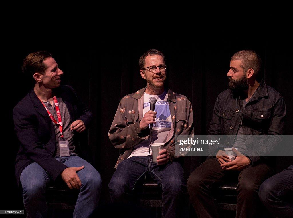 Scott Foundas, director Ethan Coen and actor Oscar Isaac do a Q&A after their film Inside Llewyn Davis at day one of the 2013 Telluride Film Festival on August 29, 2013 in Telluride, Colorado.