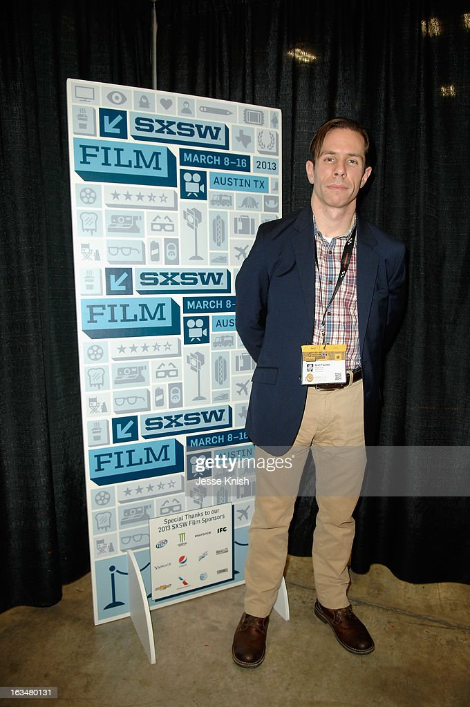 <a gi-track='captionPersonalityLinkClicked' href=/galleries/search?phrase=Scott+Foundas&family=editorial&specificpeople=586001 ng-click='$event.stopPropagation()'>Scott Foundas</a>, film critic for the Village Voice poses in the greenroom at A Conversation With Matthew McConaughey during the 2013 SXSW Music, Film + Interactive Festival at Austin Convention Center on March 10, 2013 in Austin, Texas.