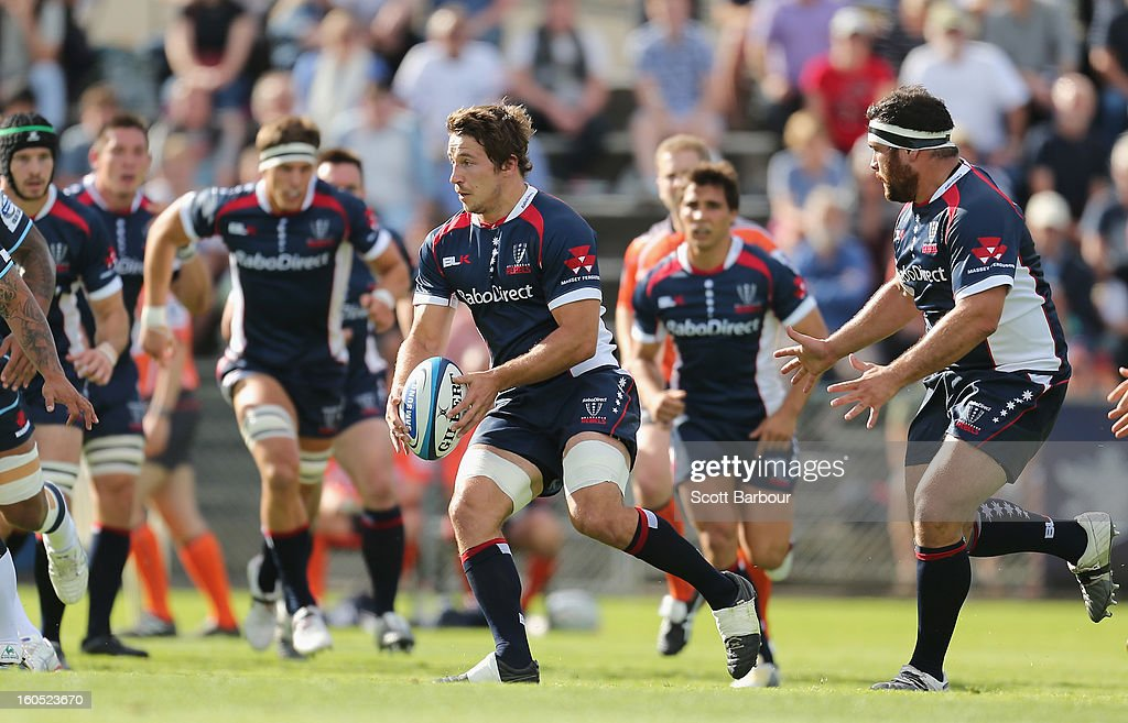 Scott Fuglistaller of the Rebels run with the ball during the Super Rugby trial match between the Waratahs and the Rebels at North Hobart Stadium on February 2, 2013 in Hobart, Australia.