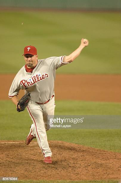 Scott Fyre of the Philadelphia Phillies pitches during a baseball game against the Washington Nationals on September 3 2008 at Nationals Park in...