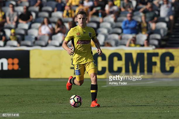 Scott Galloway of the Mariners in action during the round nine ALeague match between Central Coast Mariners and the Western Sydney Wanderers at...