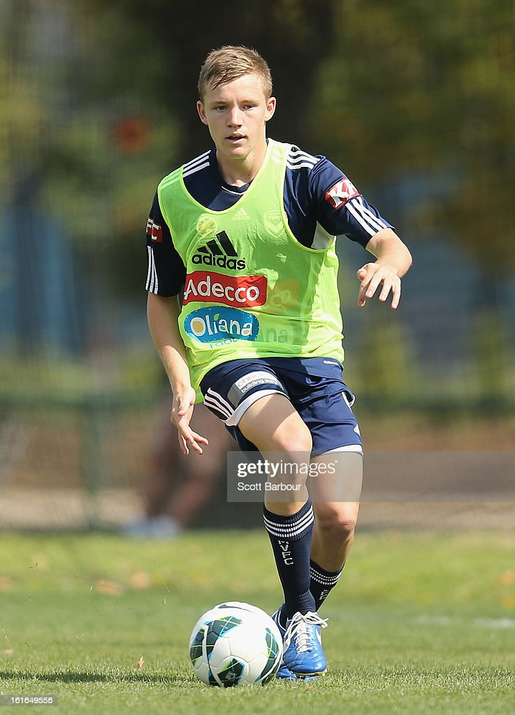 Scott Galloway of the Victory controls the ball during a Melbourne Victory A-League training session at Gosch's Paddock on February 14, 2013 in Melbourne, Australia.