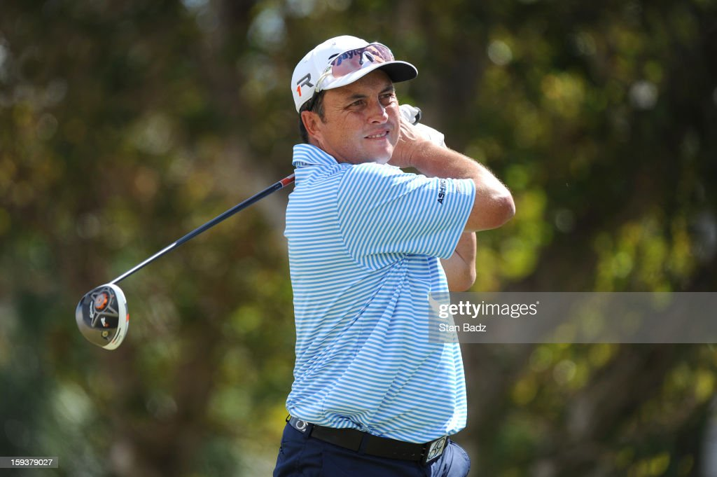 Scott Gardiner of Australia hits a drive on the first hole during the third round of the Sony Open in Hawaii at Waialae Country Club on January 12, 2013 in Honolulu, Hawaii.