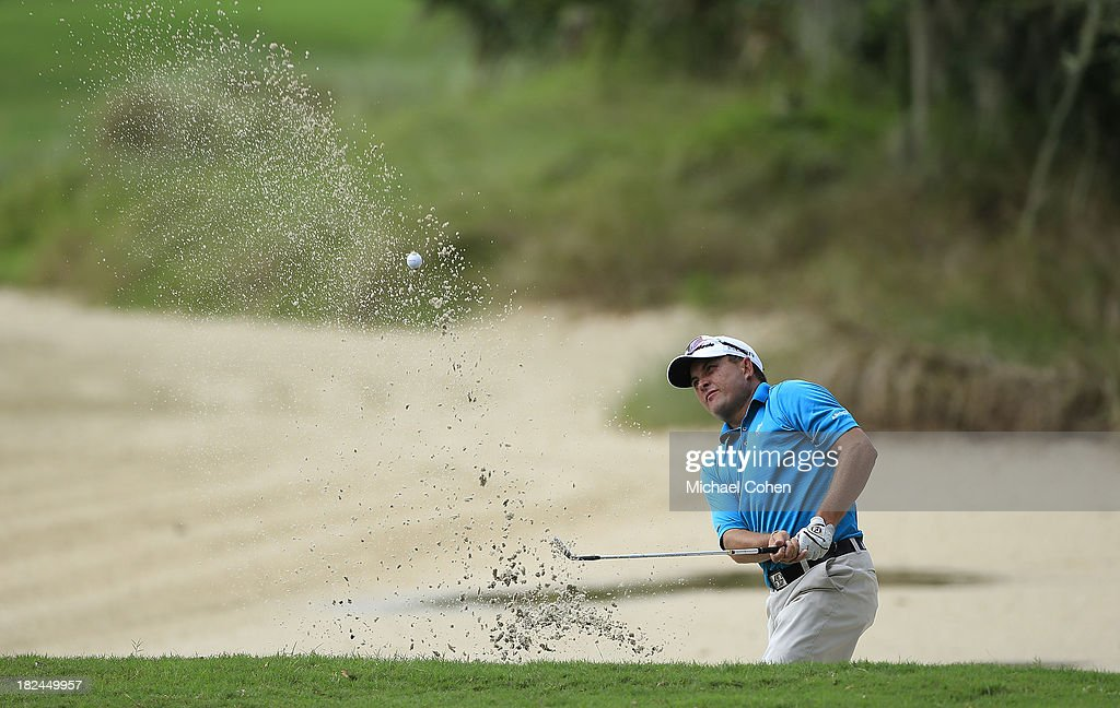 Scott Gardiner of Australia hits from a bunker on the second hole during the final round of the Web.com Tour Championship held on the Dye's Valley Course at TPC Sawgrass on September 29, 2013 in Ponte Vedra Beach, Florida.