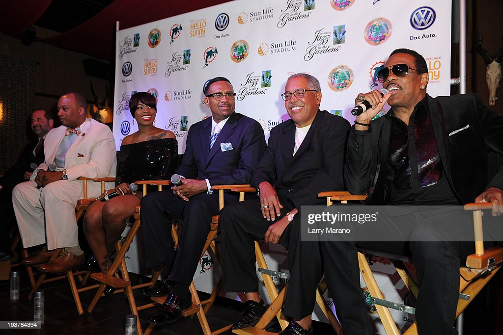 Scott Gartner, Mayor Gilbert, Fantasia, Michael Bisden, George Wilborn and Charlie Wilson attend 8th Annual Jazz In The Gardens Press Conference at Pangea at Seminole Hard Rock Hotel on March 15, 2013 in Hollywood, Florida.