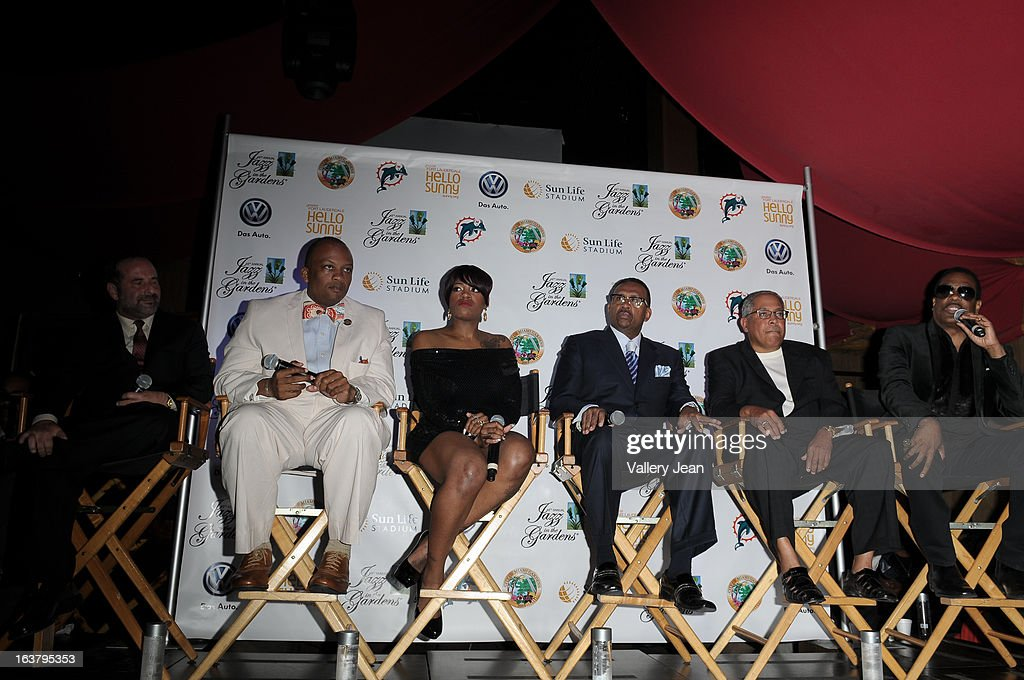Scott Gartner, Oliver G. Gilbert, Fantasia, Michael Bisden, George Wilborn and Charlie Wilson attends the 8th Annual Jazz in the Gardens Press Conference at Seminole Hard Rock Hotel & Casino ? Hard Rock Cafe Hollywood on March 15, 2013 in Hollywood, Florida.