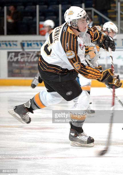 Scott Glennie of the Brandon Wheat Kings takes a shot on net during warm up at the Kelowna Rockets on October 25 2008 at Prospera Place in Kelowna...