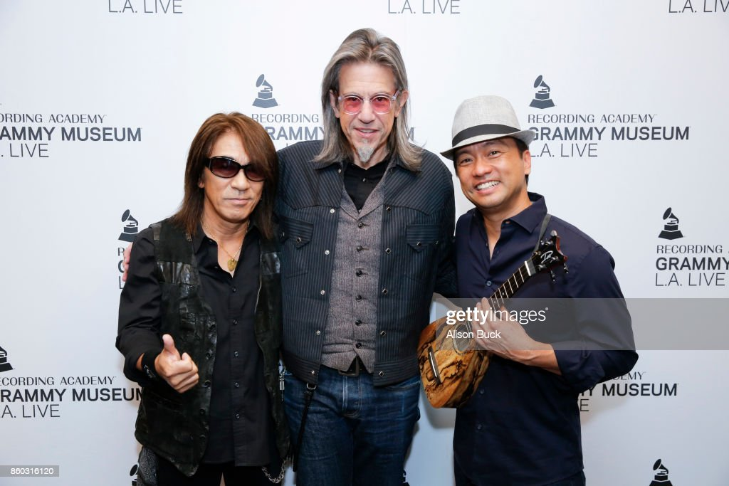 MATSUMOTO, Scott Goldman and Daniel Ho attend An Evening With Tak Matsumoto & Daniel Ho at The GRAMMY Museum on October 10, 2017 in Los Angeles, California.