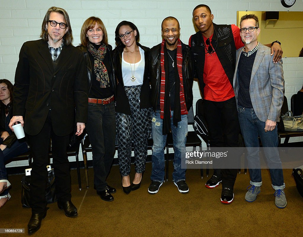 Scott Goldman & Kristen Madsen Grammy Foundation, Elle Varner, Tony Rich and Lecrae, Singers/Songwriters with Rusty Rueff Chairperson Grammy Foundation at The 55th Annual GRAMMY Awards - GRAMMY Camp Basic Training held on the campus of USC - Booth Ramos Hall on February 6, 2013 in Los Angeles, California.