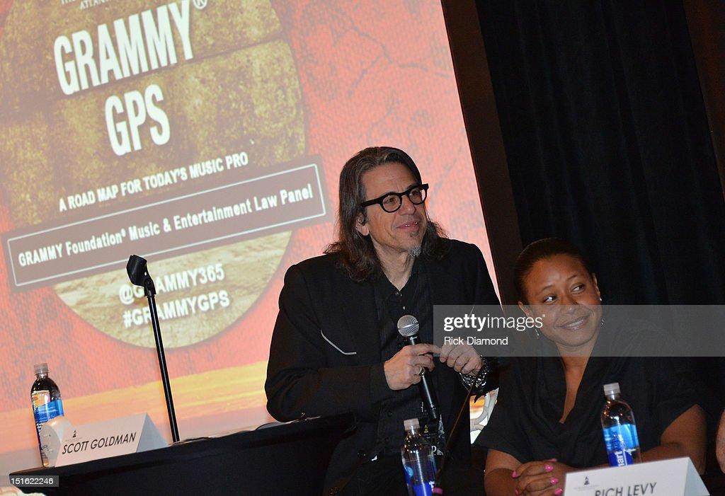 Scott Goldman VP Grammy Foundation & MusiCares and Omara Harris Entertainment Attorney attend GRAMMY GPS - A Road Map For Today's Music Pro at W Atlanta Buckhead on September 8, 2012 in Atlanta, Georgia.