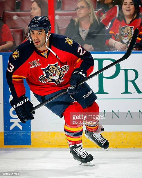 Scott Gomez of the Florida Panthers skates on the ice prior to the start of the game against the Boston Bruins at the BBT Center on October 17 2013...