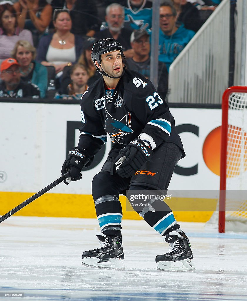 Scott Gomez #23 of the San Jose Sharks skates back on defense against the Los Angeles Kings in Game Three of the Western Conference Semifinals during the 2013 Stanley Cup Playoffs at HP Pavilion on May 18, 2013 in San Jose, California.