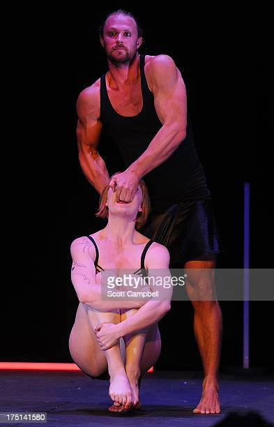 Scott Grove and Freya Edney perform during a photocall for Circa's Wunderkammer at McEwan Hall at The Edinburgh Festival Fringe on August 1 2013 in...