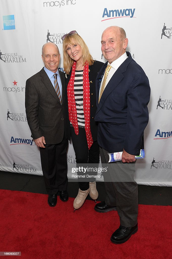 Scott Hamilton, Jojo Starbuck and Dick Button attend The 2013 Skating With The Stars Benefit Gala at Trump Rink at Central Park on April 8, 2013 in New York City.