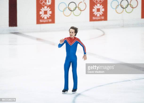 Scott Hamilton skates his Long Program of the Men's Singles competition in the 1984 Winter Olympics held at the Zetra Ice Hall in Sarajevo Yugoslavia...
