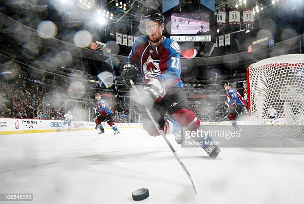 Scott Hannan of the Colorado Avalanche skates against the Vancouver Canucks at the Pepsi Center on November 4 2010 in Denver Colorado Vancouver beat...