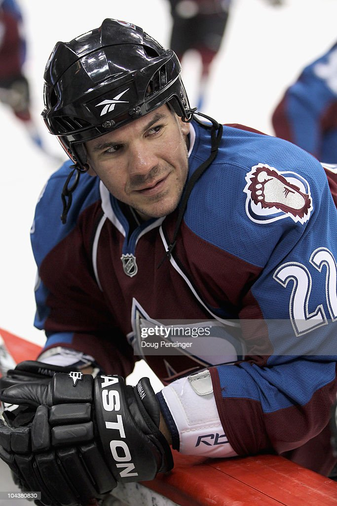 Scott Hannan #22 of the Colorado Avalanche skates during warm up prior to facing the Los Angeles Kings during preseason NHL action at the Pepsi Center on September 22, 2010 in Denver, Colorado. The Kings defeated the Avalanche 4-2.