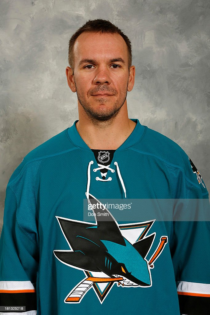 <a gi-track='captionPersonalityLinkClicked' href=/galleries/search?phrase=Scott+Hannan&family=editorial&specificpeople=203195 ng-click='$event.stopPropagation()'>Scott Hannan</a> of the San Jose Sharks poses for his official headshot for the 2013-14 season on September 11, 2013 at SAP Center in San Jose, California.