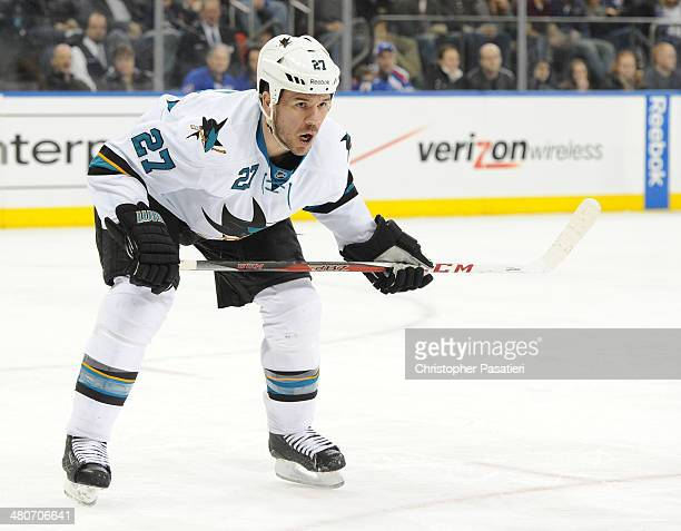 Scott Hannan of the San Jose Sharks prepares for a face off during the second period against the New York Rangers on March 16 2014 at Madison Square...