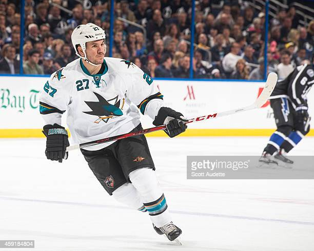 Scott Hannan of the San Jose Sharks skates against the Tampa Bay Lightning at the Amalie Arena on November 13 2014 in Tampa Florida