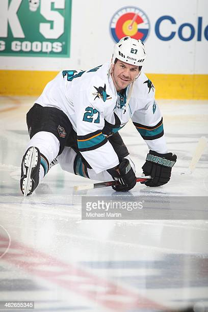 Scott Hannan of the San Jose Sharks skates prior to the game against the Colorado Avalanche at the Pepsi Center on January 04 2014 in Denver Colorado...