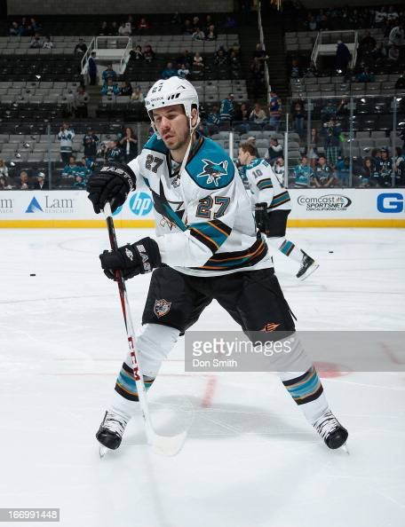 Scott Hannan of the San Jose Sharks warms up before a game against the Los Angeles Kings during an NHL game on April 16 2013 at HP Pavilion in San...