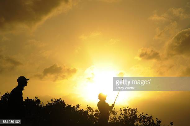 Scott Harrington hits a shot from the drop zone on No 4 during the first round of The Bahamas Great Exuma Classic at Sandals Emerald Reef Course on...