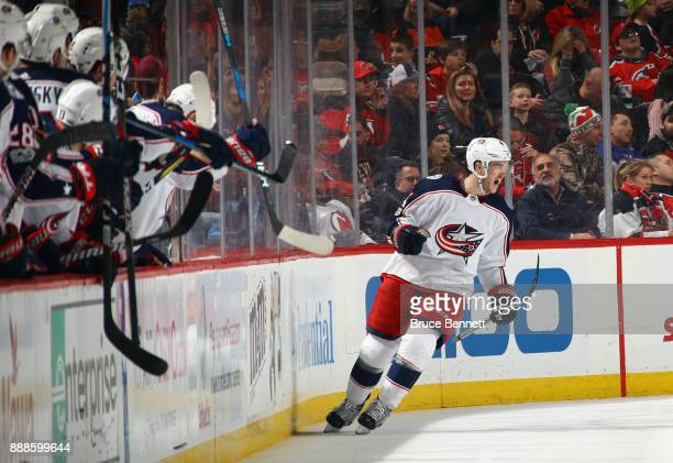 Scott Harrington of the Columbus Blue Jackets celebrates his goal at 1413 of the second period against the New Jersey Devils at the Prudential Center...