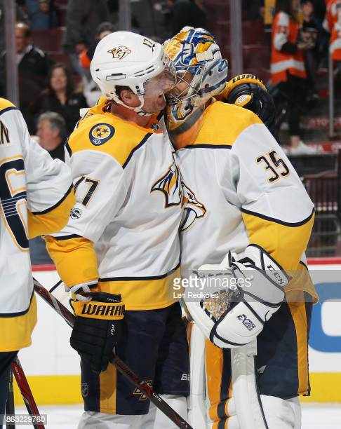 Scott Hartnell and Pekka Rinne of the Nashville Predators celebrate after defeating the Philadelphia Flyers 10 on October 19 2017 at the Wells Fargo...