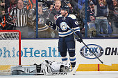 Scott Hartnell of the Columbus Blue Jackets reacts after scoring on goaltender Jonathan Quick of the Los Angeles Kings during the second period on...