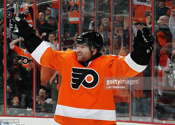 Scott Hartnell of the Philadelphia Flyers celebrates a first period goal his first of the season against the Anaheim Ducks on October 21 2010 at the...