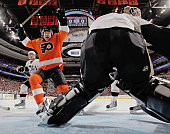 Scott Hartnell of the Philadelphia Flyers celebrates a first period goal by Jeff Carter against the Pittsburgh Penguins on January 24 2010 at the...