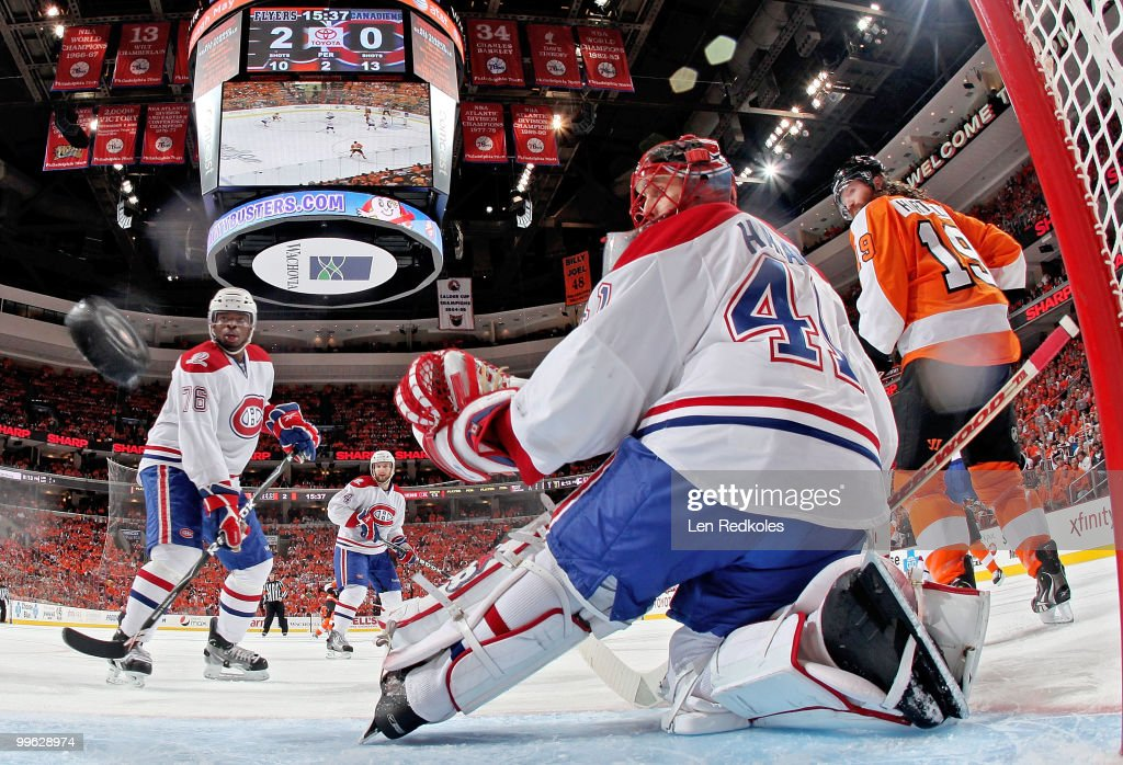 Scott Hartnell #19 of the Philadelphia Flyers, PK Subban #76, and goaltender Jaroslav Halak #41 of the Montreal Canadiens watch a shot by Flyer Danny Briere #48(not pictured) enter the net in Game One of the Eastern Conference Finals during the 2010 NHL Stanley Cup Playoffs at the Wachovia Center on May 16, 2010 in Philadelphia, Pennsylvania. The Flyers would go on to defeat the Canadiens 6-0.