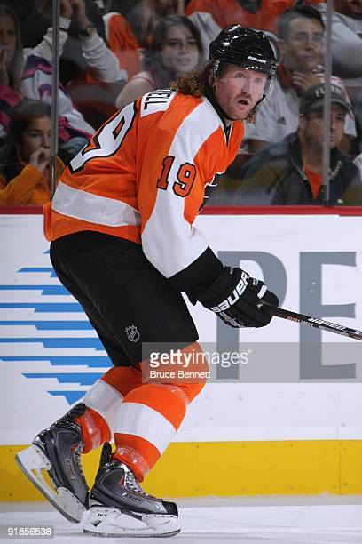Scott Hartnell of the Philadelphia Flyers skates during the game against the Pittsburgh Penguins at the Wachovia Center on October 8 2009 in...