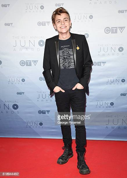 Scott Helman arrives at the 2016 Juno Awards at Scotiabank Saddledome on April 3 2016 in Calgary Canada