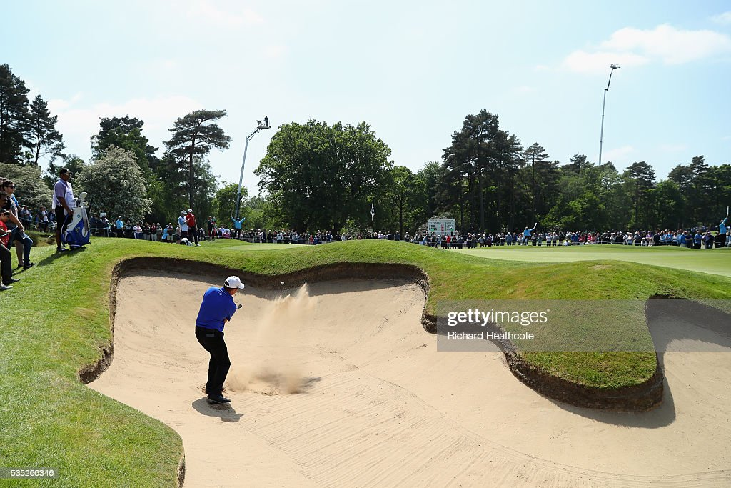 <a gi-track='captionPersonalityLinkClicked' href=/galleries/search?phrase=Scott+Hend&family=editorial&specificpeople=561652 ng-click='$event.stopPropagation()'>Scott Hend</a> of Australia hits from a bunker on the 5th hole during day four of the BMW PGA Championship at Wentworth on May 29, 2016 in Virginia Water, England.