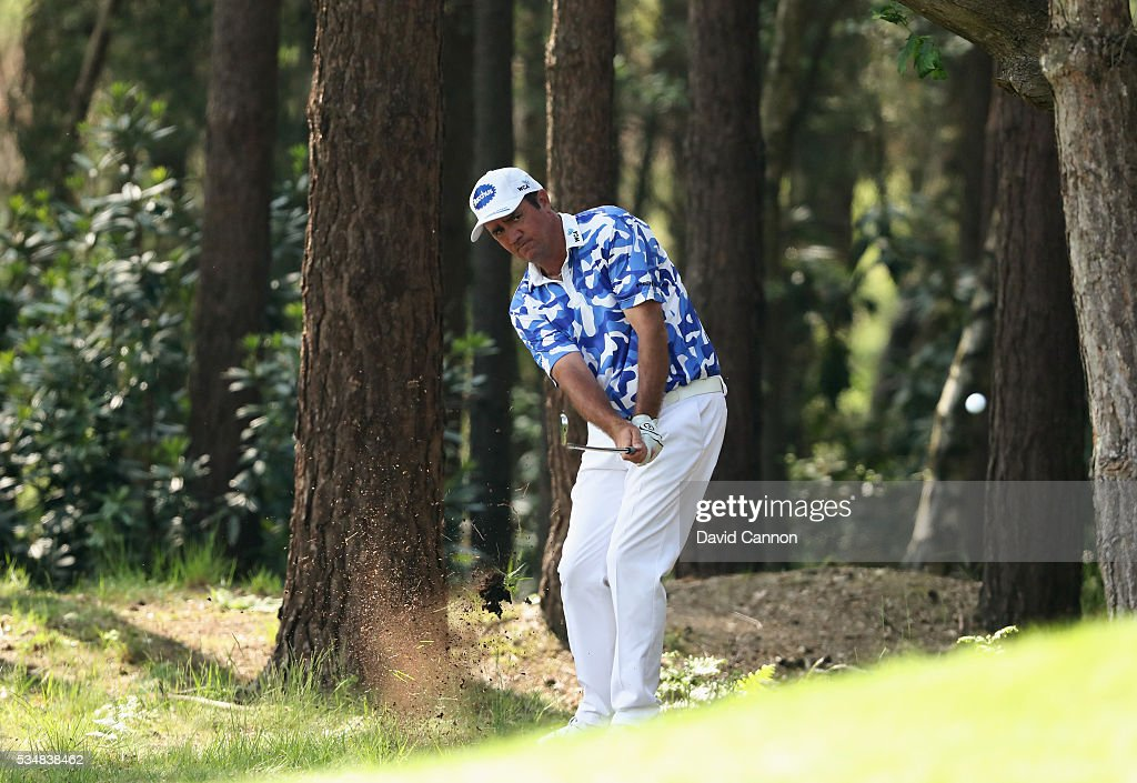 Scott Hend of Australia hits his 2nd shot on the 13th hole during day three of the BMW PGA Championship at Wentworth on May 28 2016 in Virginia Water...