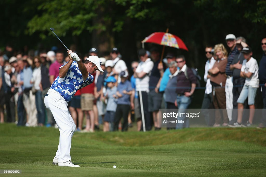 <a gi-track='captionPersonalityLinkClicked' href=/galleries/search?phrase=Scott+Hend&family=editorial&specificpeople=561652 ng-click='$event.stopPropagation()'>Scott Hend</a> of Australia hits his 2nd shot on the 15th hole during day three of the BMW PGA Championship at Wentworth on May 28, 2016 in Virginia Water, England.