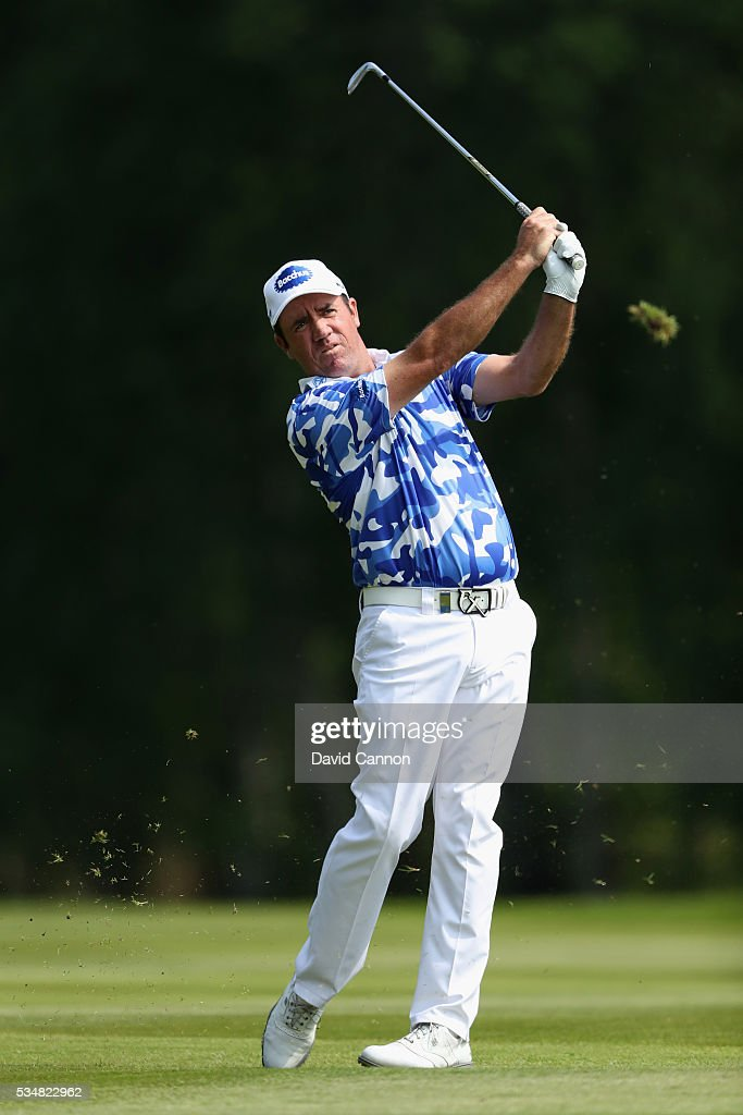 Scott Hend of Australia hits his 2nd shot on the 9th hole during day three of the BMW PGA Championship at Wentworth on May 28 2016 in Virginia Water...