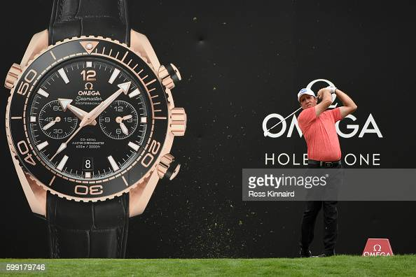 Scott Hend of Australia hits his tee shot on the 13th holeduring the final round of the Omega European Masters at CranssurSierre Golf Club on...