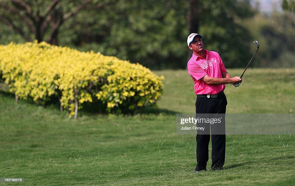 Scott Hend of Australia in action during day three of the Avantha Masters at Jaypee Greens Golf Club on March 16, 2013 in Delhi, India.