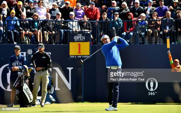 Scott Hend of Australia plays a shot on the 1st hole at Royal Birkdale on July 20 2017 in Southport England